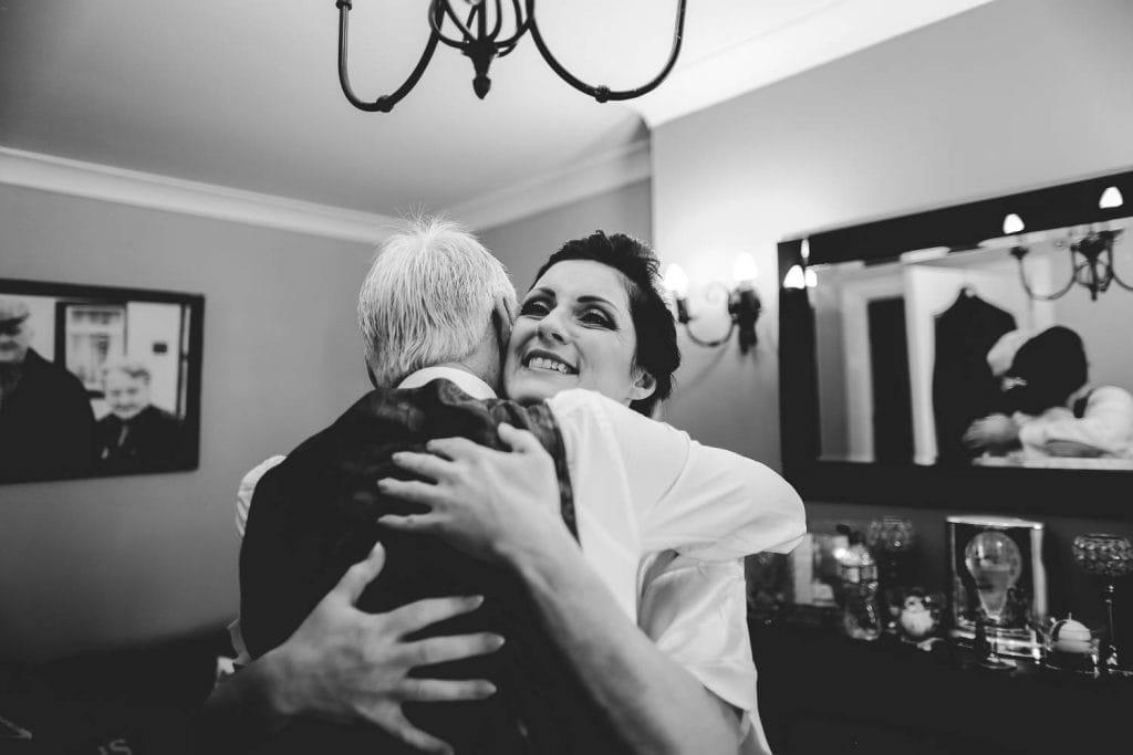 bride hugs dad wedding morning fallons restaurant kilcullen Kildare