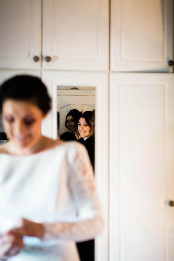 proud sister looks at bride fallons restaurant kilcullen Kildare