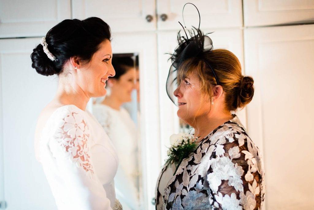 mam looks at daughter lovingly wedding morning fallons restaurant kilcullen Kildare