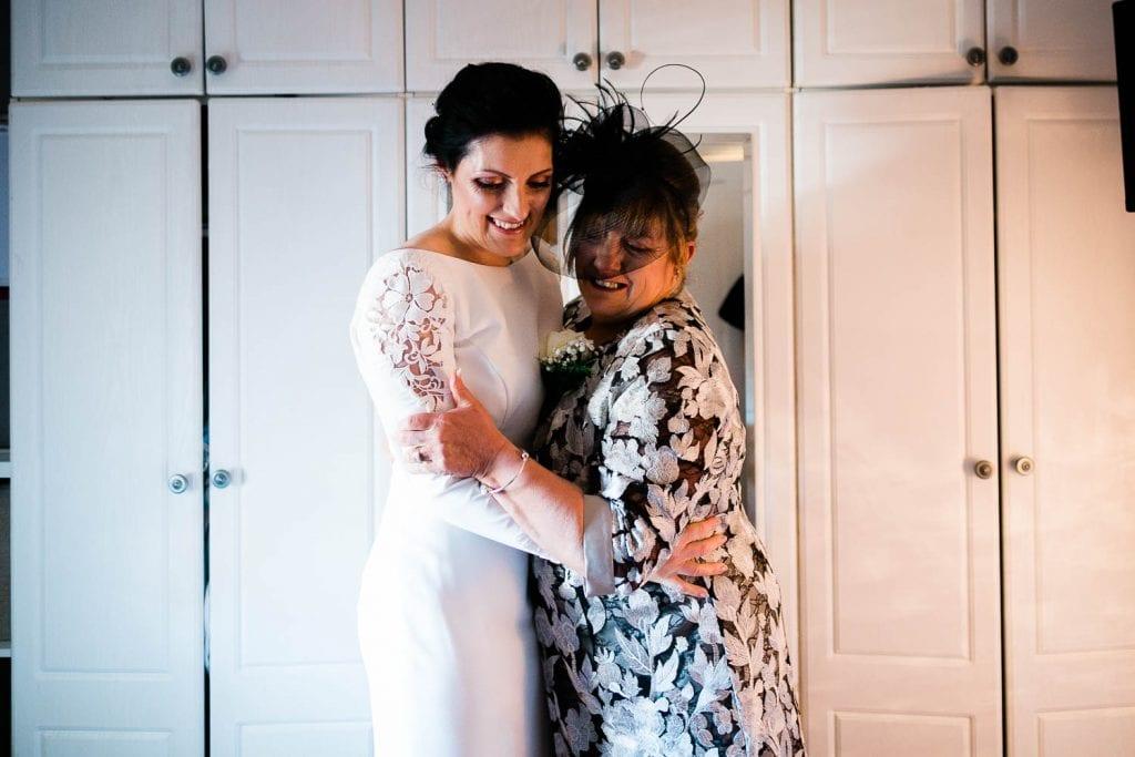 mam hugs daughter bride fallons restaurant kilcullen Kildare