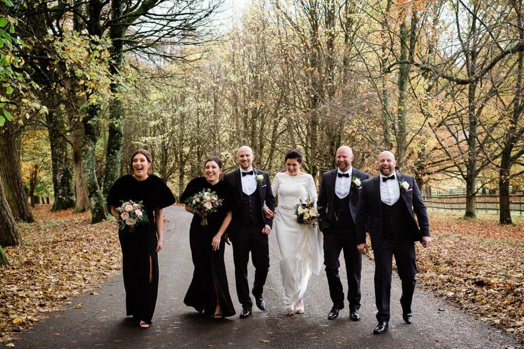 bridal party walking through teh curragh haas fallons restaurant kilcullen Kildare