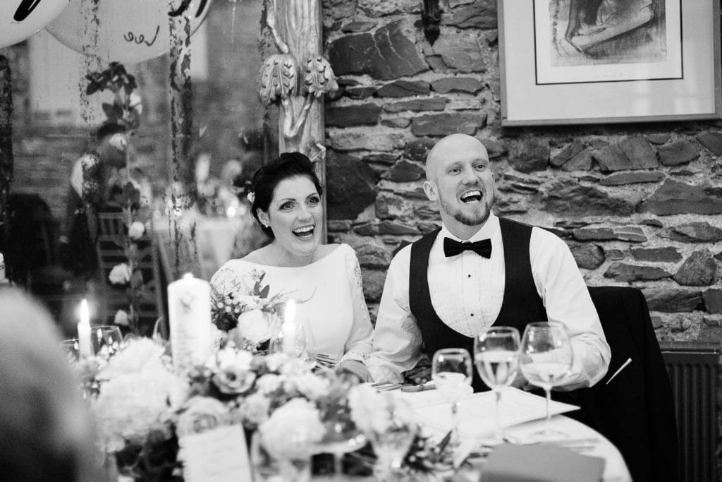 bride and groom laughing wedding speeches fallons restaurant kilcullen Kildare